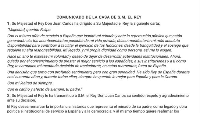 Comunicado de la Casa Real en la que Juan Carlos I anuncia su retirada.