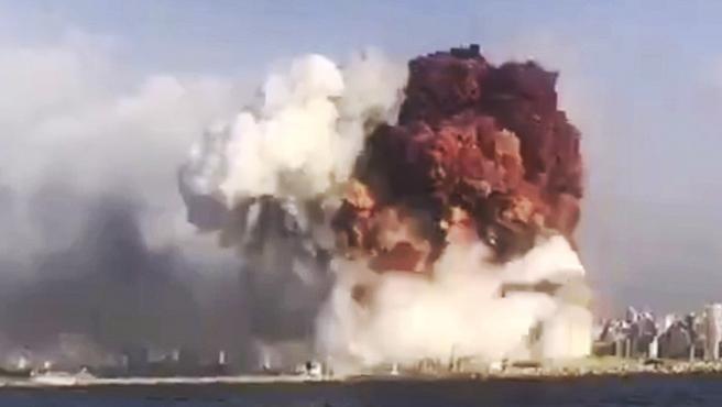Explosion en el puerto de Beirut.