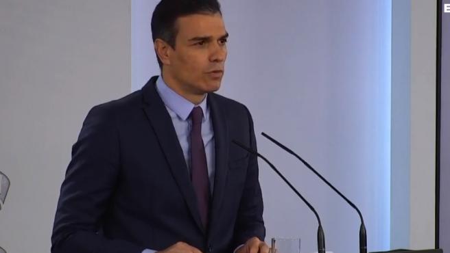Pedro Sánchez, en la rueda de prensa en Moncloa