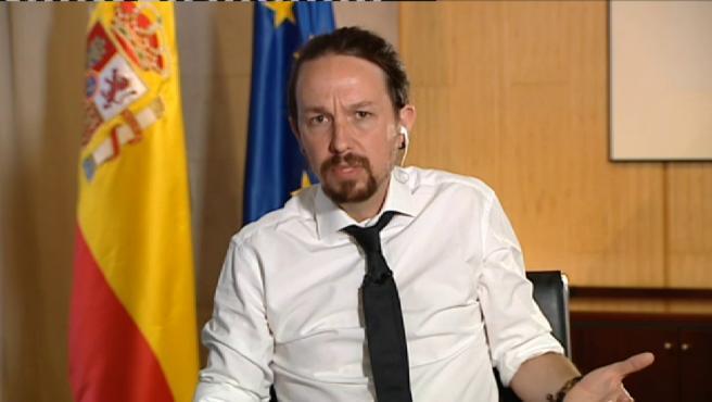 El vicepresidente segundo del Gobierno, Pablo Iglesias, durante una entrevista en Telecinco.