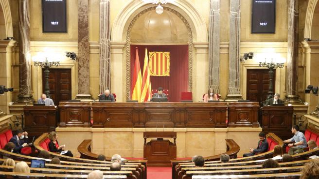 El hemiciclo del Parlament de Cataluña, durante el pleno del pasado 8 de julio.