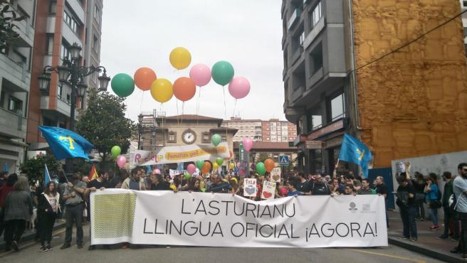 Cabecera de una manifestación por la oficialidad en 2018, con Yolanda Huergo en la pancarta.