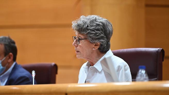 La administradora única de RTVE, Rosa María Mateo, durante su comparecencia ante la Comisión Mixta de Control Parlamentario de RTVE para dar cuenta de los ceses, nombramientos y dimisiones de RNE y TVE.