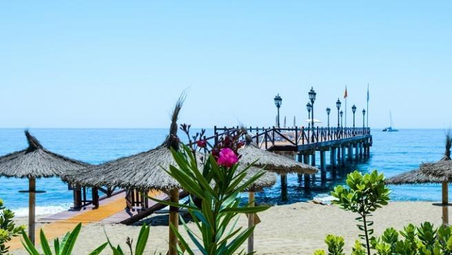 Playa de Puente Romano-Nagueles, Marbella, Costa del Sol Occidental, Málaga, Andalucía, España