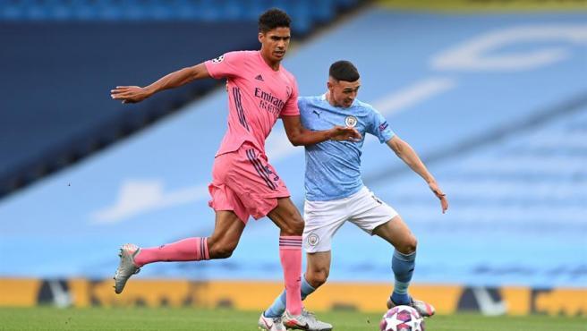 Varane, durante el partido contra el City.