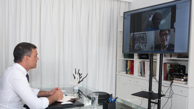 El presidente, durante la reunión por videoconferencia