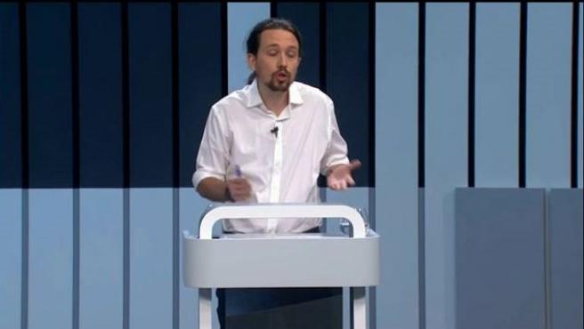 Pablo Iglesias en el debate a 4 de 2016