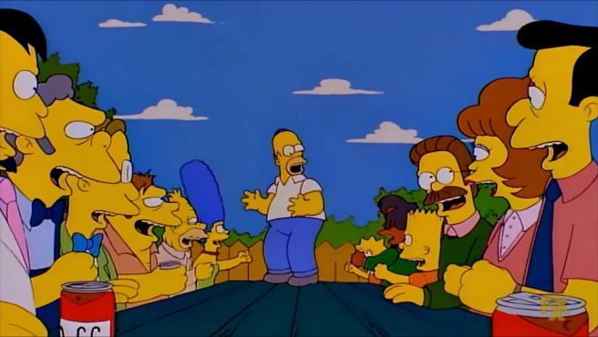 Homer Simpson arengando a que se vote 'No' a la 'Propuesta 24'