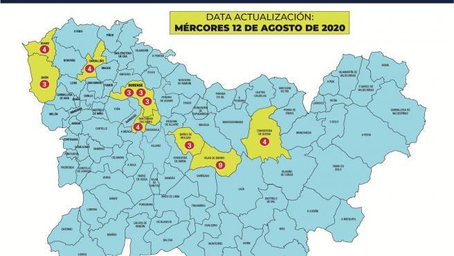 Mapa de brotes en la provincia de Ourense.