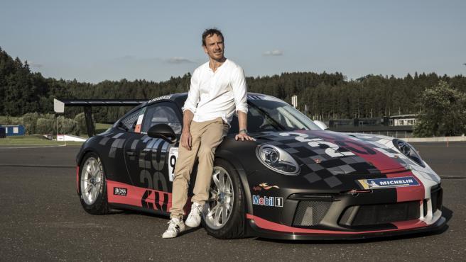 Michael Fassbender, con el Porsche 911 GT3 Cup