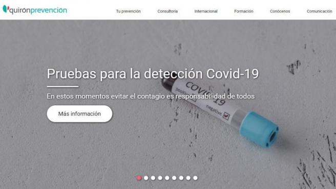 Página principal de la web de Quirón Prevención, encargado de los reconocimientos médicos del personal militar y civil.