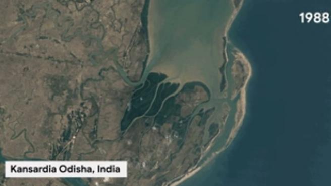 Imagen de Kansardia Odisha desde el espacio en 1988.