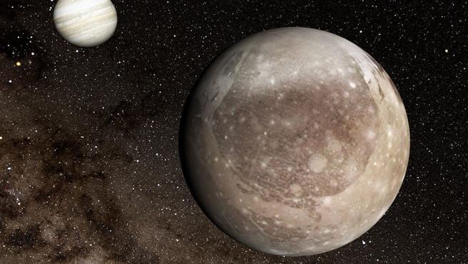 Ganímedes en primer plano, con Júpiter al fondo Ganímedes en primer plano, con Júpiter al fondo 17/8/2020