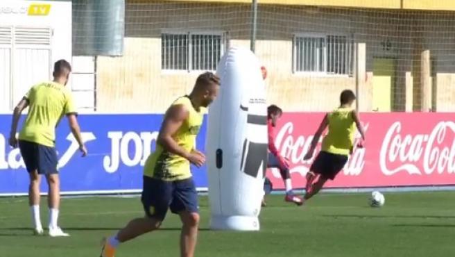 Los jugadores del Villarreal, en un entrenamiento.