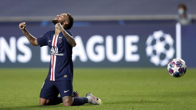 Neymar celebra el pase del PSG a la final de la Champions