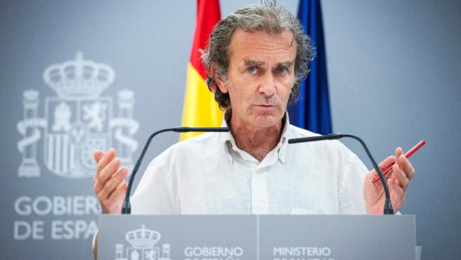 El doctor Fernando Simón, este jueves, durante una rueda de prensa en el Ministerio de Sanidad.
