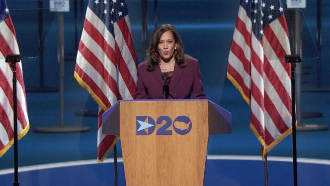 Kamala Harris, durante la Convención del Partido Demócrata.