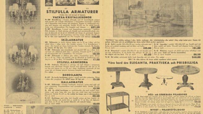 Parte del catálogo de IKEA de 1950.