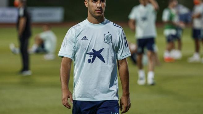 Asensio, en un entrenamiento de la Selección.