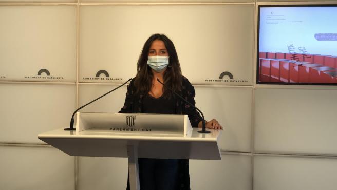 La diputada de la CUP en el Parlament Maria Sirvent en rueda de prensa este martes 1 de septiembre
