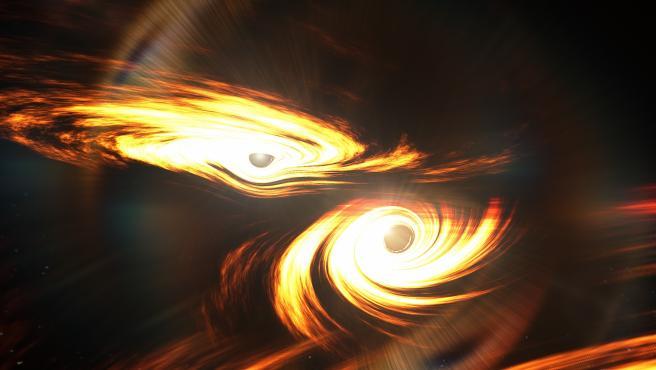 Interpretación artística de un agujero negro binario a punto de chocar.