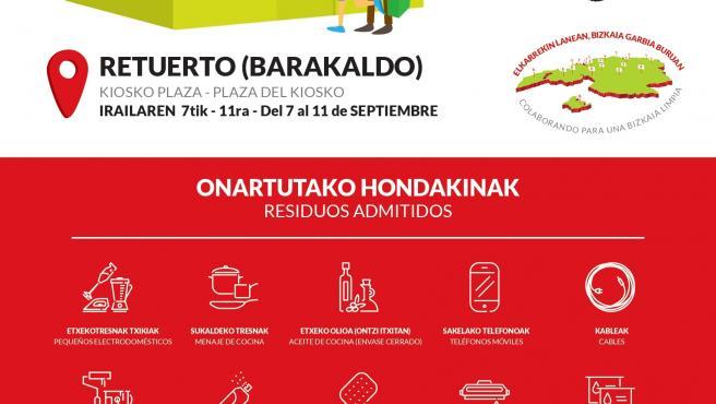 Cartel del garbigune móvil en Barakaldo