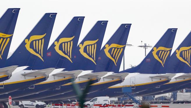 Imagen de archivo de varios aviones de Ryanair.