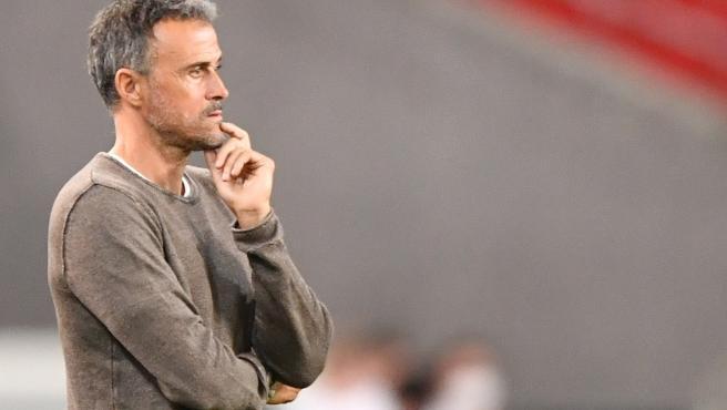 Luis Enrique, durante un partido de España