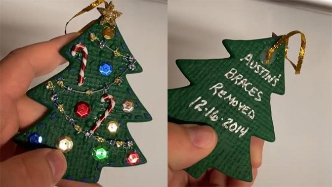 Montaje del adorno de Navidad.