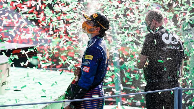 Carlos Sainz, en el podio del GP de Italia