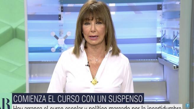 Ana Rosa Quintana, en su regreso a Telecinco tras las vacaciones.