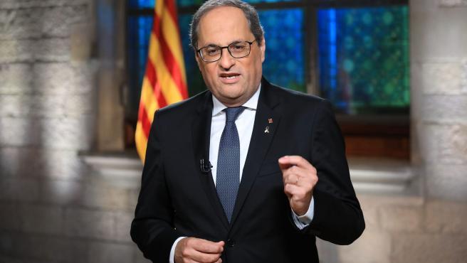 El president de la Generalitat, Quim Torra, durante el discurso institucional con motivo de la Diada 2020.