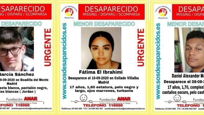 Buscan desde hace días a tres menores desaparecidos en distintos puntos de la Comunidad de Madrid Buscan desde hace días a tres menores desaparecidos en distintos puntos de la Comunidad de Madrid 11/9/2020