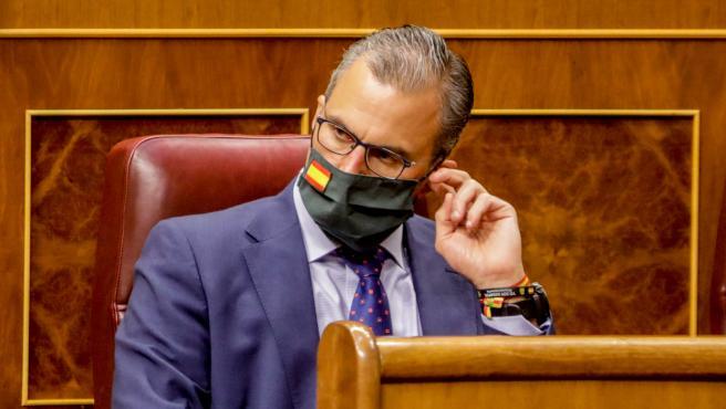 El secretario General de Vox, Javier Ortega Smith, durante la primera sesión plenaria en el Congreso de los Diputados tras el receso vacacional, en Madrid (España), a 8 de septiembre de 2020.
