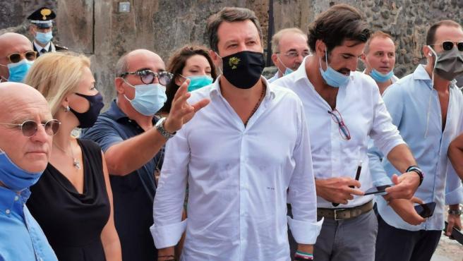 Matteo Salvini en el acto de Campania.