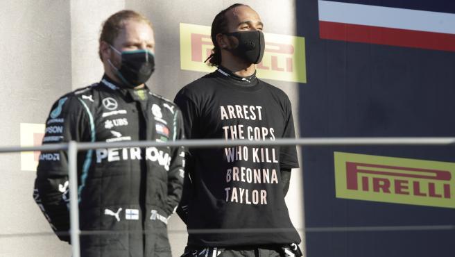Hamilton y Bottas en el podio del GP de la Toscana
