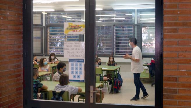 Primer día de clase este lunes en la Escola Catalonia de Sant Martí, en Barcelona.