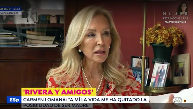 Carmen Lomana concede una entrevista a Fran Rivera para 'Espejo público'.