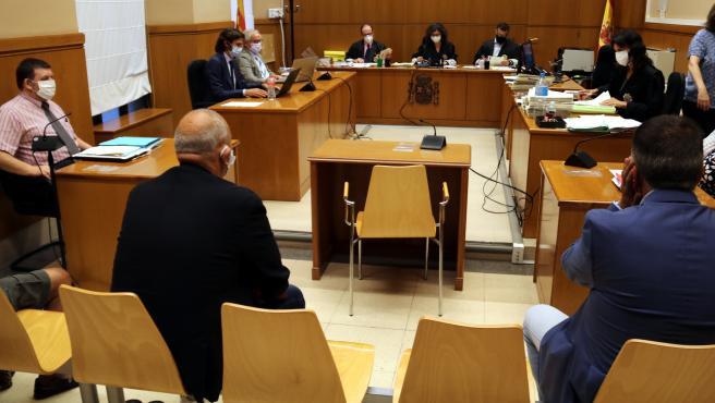 La sala de vistas de la Audiencia Nacional en la que se ha llevado a cabo el juicio por la vigilancia fraudulenta de pisos socales en el barrio de La Mina de Sant Adrià de Besòs.