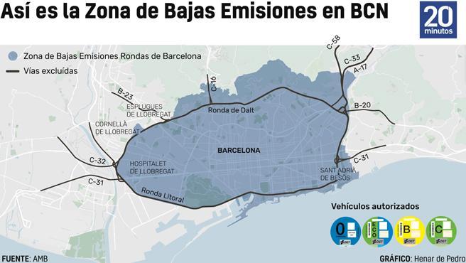 El mapa de la Zona de Bajas Emisiones de Barcelona.