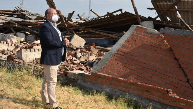 Monago en su visita a La Vera para conocer daños generados por las tormentas