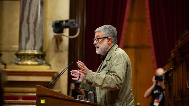 El diputado de la CUP en el Parlament Carles Riera durante el Debate de Política General en la Cámara catalana. El diputado de la CUP en el Parlament Carles Riera durante el Debate de Política General en la Cámara catalana. 16/9/2020