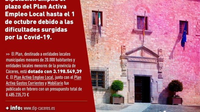 La Diputación de Cáceres amplía el plazo del Plan Activa de Empleo Local