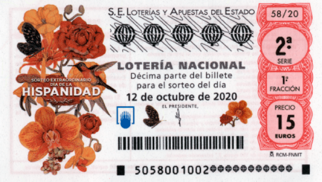 Décimo del Sorteo Extraordinario del 12 de octubre.