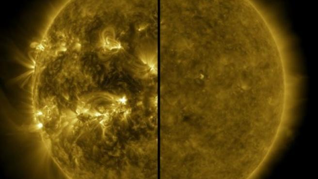 Esta imagen dividida muestra la diferencia entre un Sol activo durante el máximo solar (a la izquierda, capturado en abril de 2014) y un Sol tranquilo durante el mínimo solar (a la derecha, capturado en diciembre de 2019).