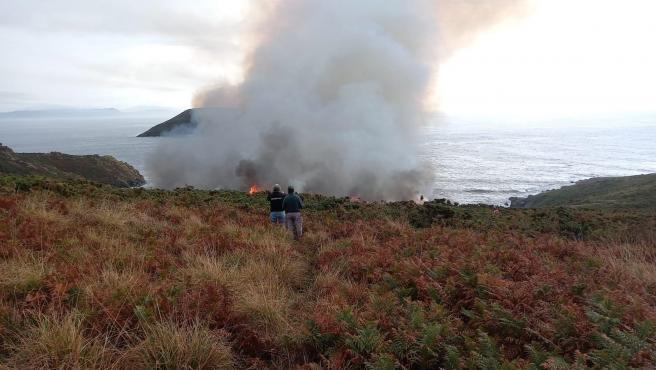 Incendio en la Illa de Ons.