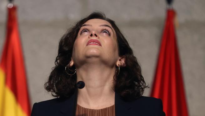 La presidenta de la Comunidad de Madrid, Isabel Díaz Ayuso, este viernes en rueda de prensa.
