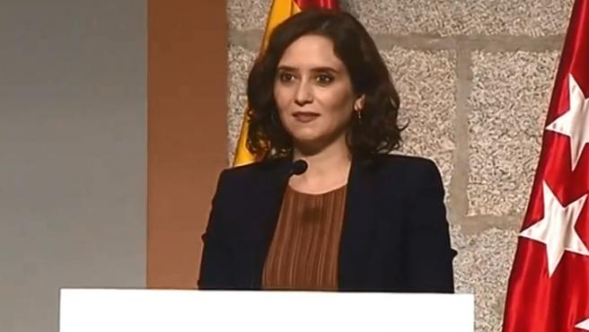 Isabel Díaz Ayuso comparece en la sede de la Comunidad de Madrid.