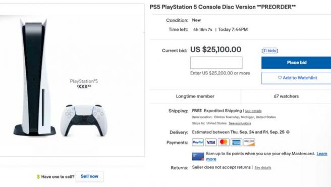 La PS5 por 25.000 dólares en eBay.