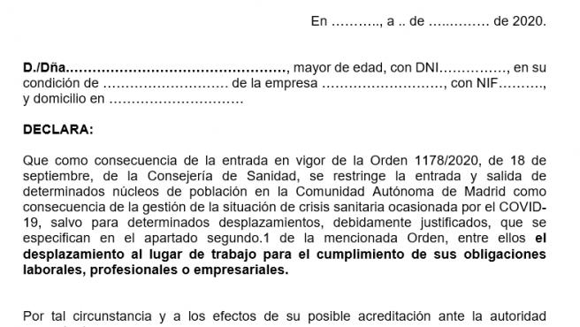 Certificado para entrar y salir de las zonas con restricciones en Madrid.